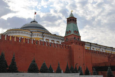 The Moscow Kremlin. The dome of the building of the Senate, and Senate tower. The Senate tower is located opposite the Lenin Mausoleum and got its name for built stock images