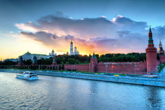 Moscow Kremlin at dusk Royalty Free Stock Images