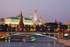 Moscow Kremlin in dusk. Russia Stock Photos