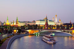 Moscow Kremlin in dusk. Russia Royalty Free Stock Images