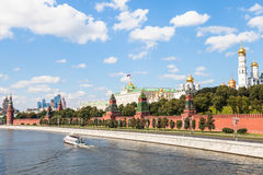 Moscow Kremlin and embankment along Moskva River Royalty Free Stock Photography