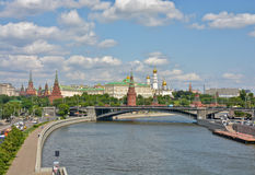The Moscow Kremlin. Kremlin embankment in early summer. Russia, Moscow stock photo