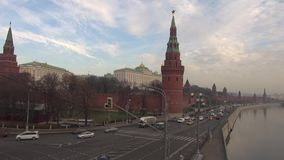 The Moscow Kremlin embankment flow machines stock video footage