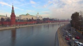 The Moscow Kremlin embankment flow machines timelaps titl shift stock video footage