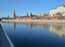 Moscow Kremlin and embankment of the Moscow river. Stock Photos
