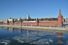 Moscow Kremlin and embankment of the Moscow river. Royalty Free Stock Photography
