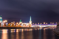 The Moscow Kremlin. Embankment of the Moscow river. Royalty Free Stock Images