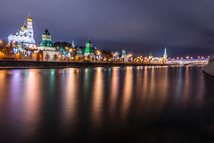 The Moscow Kremlin. Embankment of the Moscow river. Stock Photos