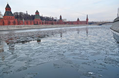 Moscow Kremlin and embankment of the Moscow river. Royalty Free Stock Images