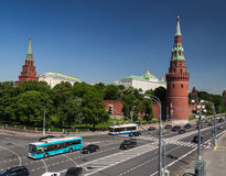 Moscow Kremlin. Kremlin embankment Water Tower Moscow Russia May 20, 2014 stock photo