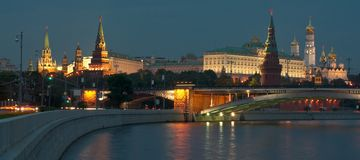 Moscow Kremlin in the evening Stock Images