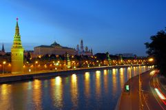 Moscow  Kremlin in the evening Royalty Free Stock Photo