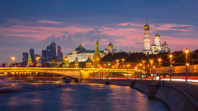 Moscow Kremlin in evening illumination Royalty Free Stock Photography