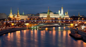 Moscow Kremlin evening view. From Patriarshy bridge Royalty Free Stock Images