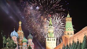 Moscow Kremlin and fireworks in honor of Victory Day celebration WWII,  Red Square, Moscow, Russia