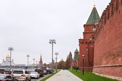 MOSCOW, RUSSIA - OCTOBER 06, 2016: View of towers of the Moscow Kremlin, Russia. The Moscow Kremlin is a fortified complex at the heart of Moscow. It is the Royalty Free Stock Photos