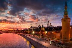 Moscow Kremlin at front of beautiful sunset. Sunset view of Moscow Kremlin and Moscow River royalty free stock photos