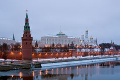 Moscow Kremlin in the gloaming. Russia Royalty Free Stock Image