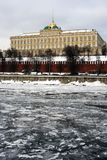 Moscow Kremlin. The Grand Kremlin Palace. Color winter photo. Royalty Free Stock Image