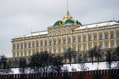 Moscow Kremlin. The Grand Kremlin Palace. Color winter photo. Royalty Free Stock Photography