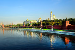 The Moscow Kremlin. Kremlin wall. Embankment of the Moscow River. Stock Images