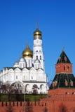 Moscow Kremlin landmarks. Blue sky background. Royalty Free Stock Photo