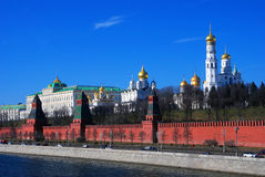 Moscow Kremlin landmarks. Blue sky background. Stock Photography