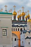 Moscow Kremlin landmarks - churches and Faceted chamber. Royalty Free Stock Photo