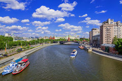 Moscow Kremlin and a large stone bridge, Russia Royalty Free Stock Photography
