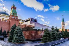 The Moscow Kremlin. The Lenin Mausoleum, the Senate and Nikolskaya Towers at sunset of a sunny day in late autumn. Russia. The Red Square. The Moscow Kremlin stock photo