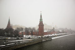 Moscow Kremlin and lot of ice on the Moskva River in the winter Royalty Free Stock Image