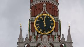 Moscow Kremlin Main Clock named Kuranti on Spasskaya Tower 12 hours . Red Square. Timelapse.  stock video