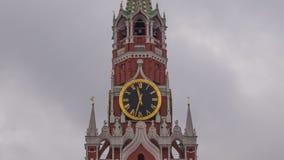 Moscow Kremlin Main Clock named Kuranti on Spasskaya Tower 12 hours . Red Square. Timelapse.  stock video footage
