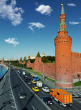 Moscow Kremlin in the morning rush hour.  Royalty Free Stock Photo