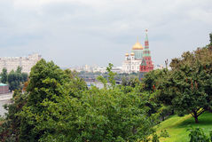 Moscow Kremlin and Moscow city center panorama in summer. Royalty Free Stock Images