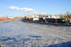 Moscow Kremlin  and Moscow city center winter panorama. Royalty Free Stock Photos