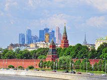 Moscow Kremlin and moscow-city district Stock Photography