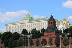 Moscow Kremlin. The Moscow Kremlin, is a fortified complex at the heart of Moscow, overlooking the Moskva River. It is the best known of the kremlins Russian Royalty Free Stock Photos