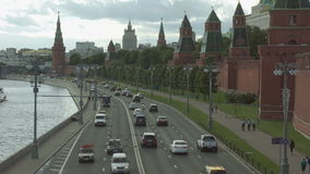 Moscow Kremlin and Moscow river stock video footage