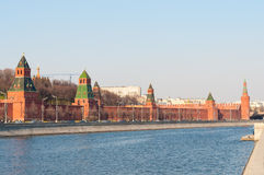 The Moscow Kremlin and Moscow-river. Embankment. The Moscow Kremlin and Moscow river. Kremlin embankment in Moscow, clear February day Stock Photo