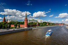 Moscow Kremlin and Moscow River Embankment Stock Images