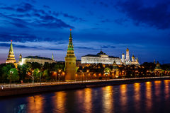 Moscow Kremlin and Moscow River Illuminated in the Evening, Russ Royalty Free Stock Photography