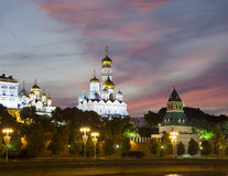 Moscow Kremlin and the Moscow river by night, Russia Stock Photography