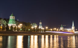 Moscow Kremlin and the Moscow river by night, Russia Royalty Free Stock Image