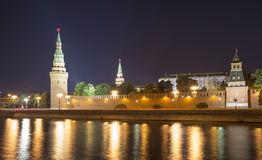 Moscow Kremlin and the Moscow river by night, Russia Stock Image