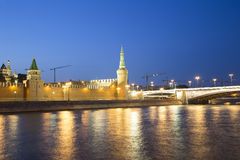 Moscow Kremlin and the Moscow river by night, Russia Royalty Free Stock Photo