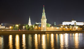 Moscow Kremlin and the Moscow river by night, Russia Stock Images