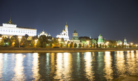 Moscow Kremlin and the Moscow river by night, Russia Stock Photo