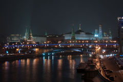 Moscow Kremlin and Moscow river at night Stock Photography