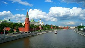 Moscow Kremlin and Moscow River, Russia, Time Lapse stock video